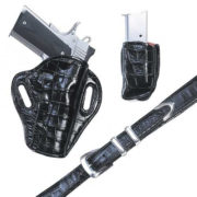 Exoctic Crosshair- Black Crocodile – Holster, Belt and Pouch – El Paso Saddlery