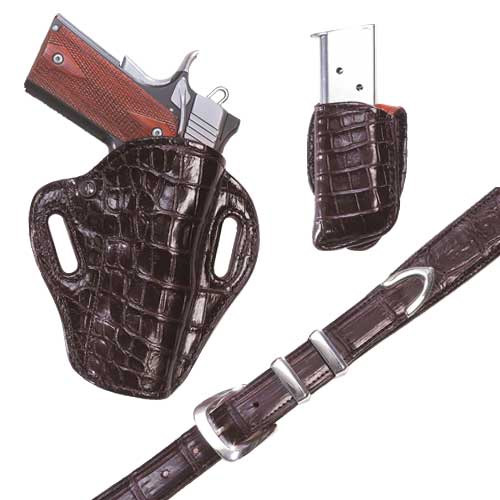 Exoctic Crosshair- Choclate Crocodile – Holster, Belt and Pouch – El Paso Saddlery