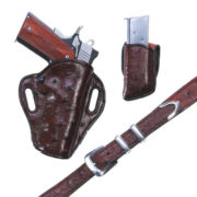 Exotic Crosshair – Brown Ostrich – Holster, Belt and Pouch – El Paso Saddlery
